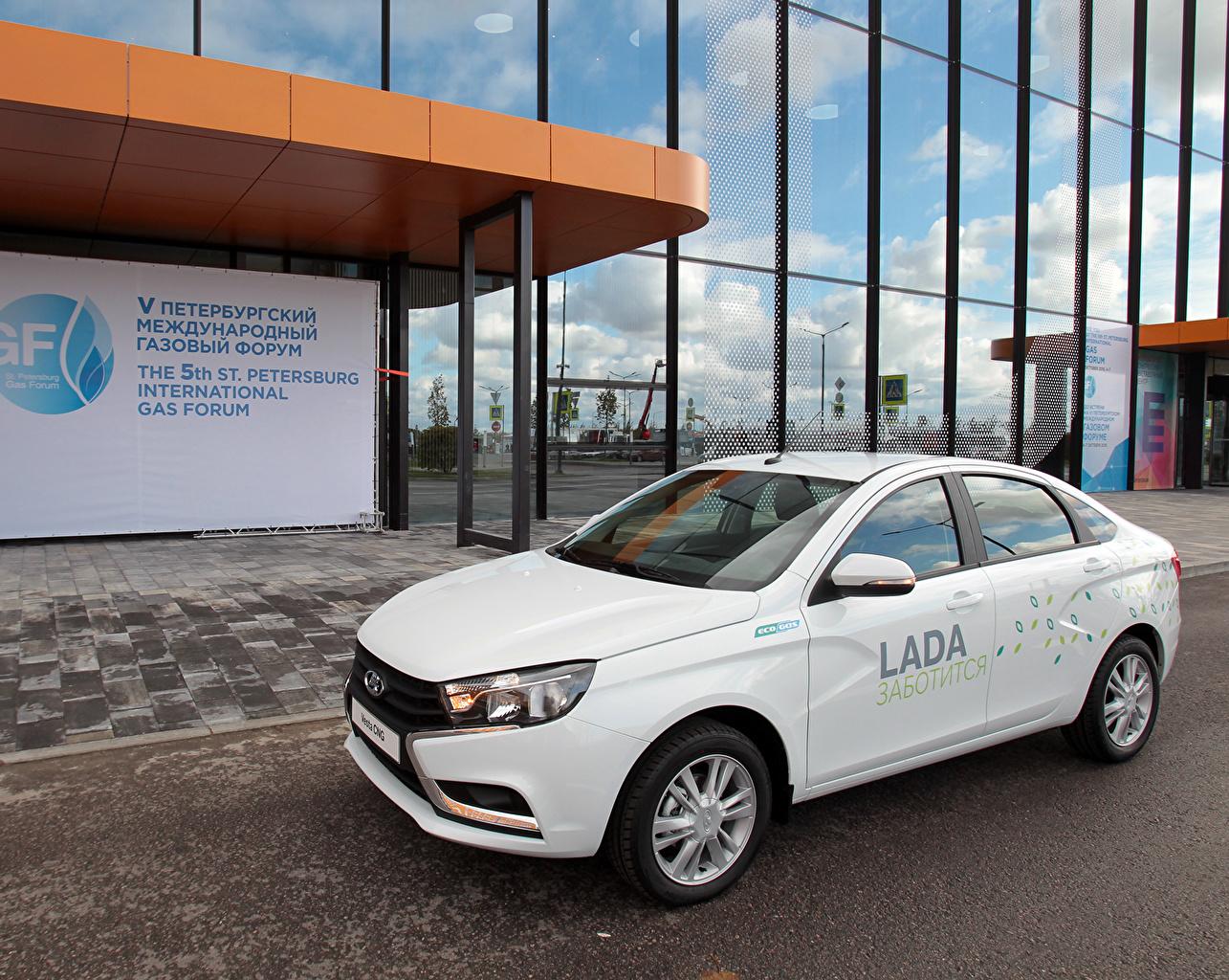 Pictures Lada Russian cars 2015 Vesta CNG White Cars auto automobile