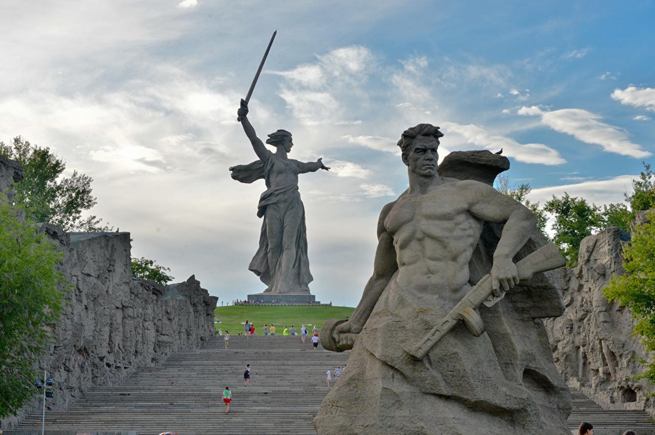 Fotos Wolgograd Russland Mann Denkmal The Motherland Calls, Mamayev Kurgan Städte