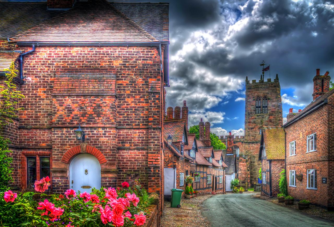 Immagine Regno Unito Little Budworth HDR Rose Via della città Città Nuvole La casa rosa Nubi edificio