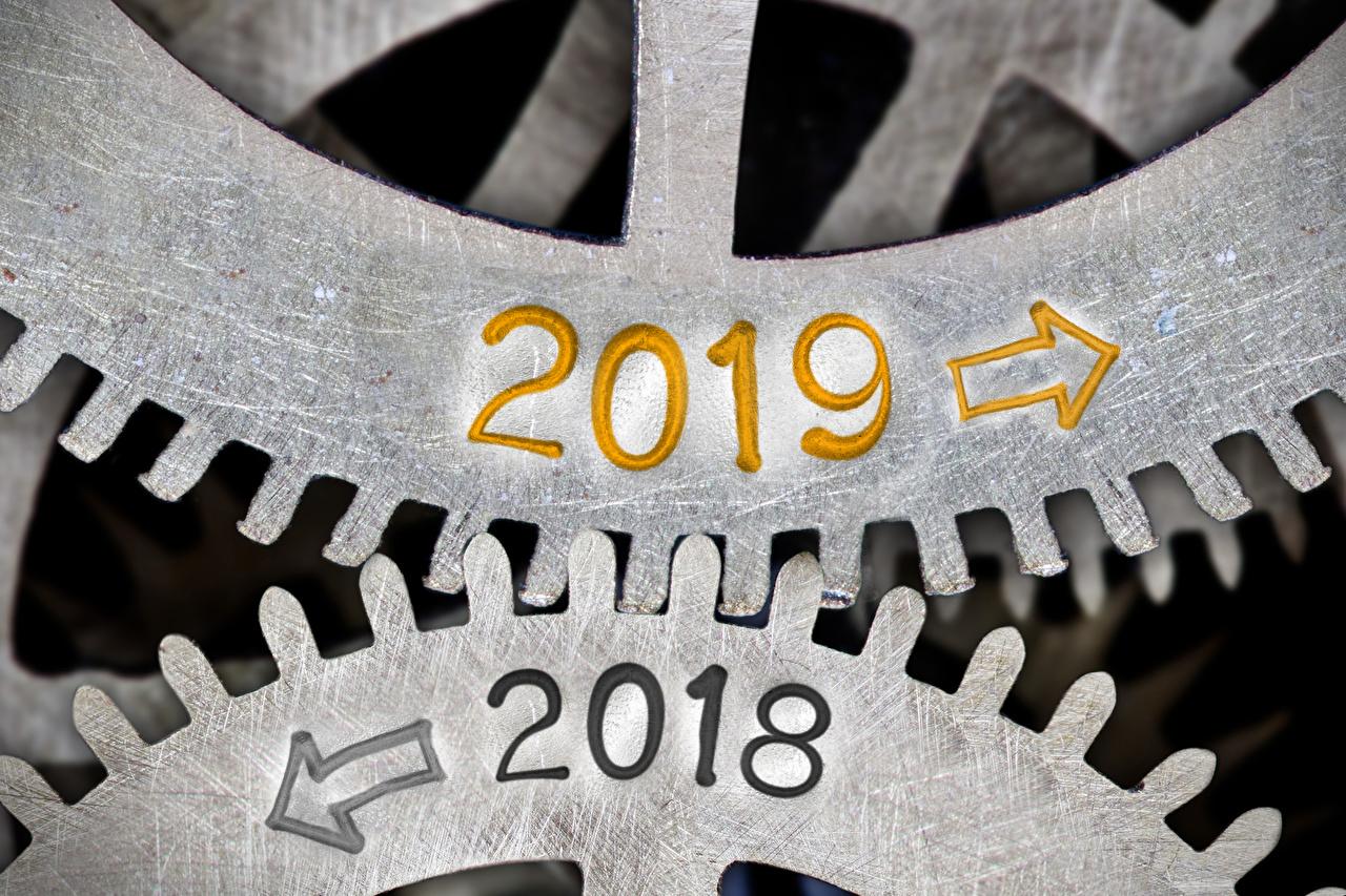 Fotos 2019 2018 Neujahr Pfeil (Symbol) zahnräder Zahnrad