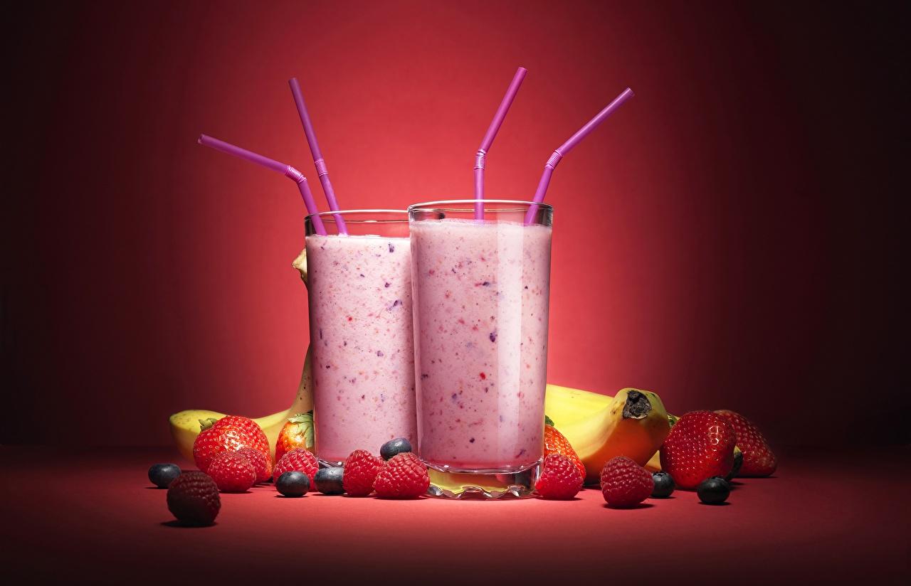 Bilder von Trinkglas Himbeeren Erdbeeren Cocktail Lebensmittel