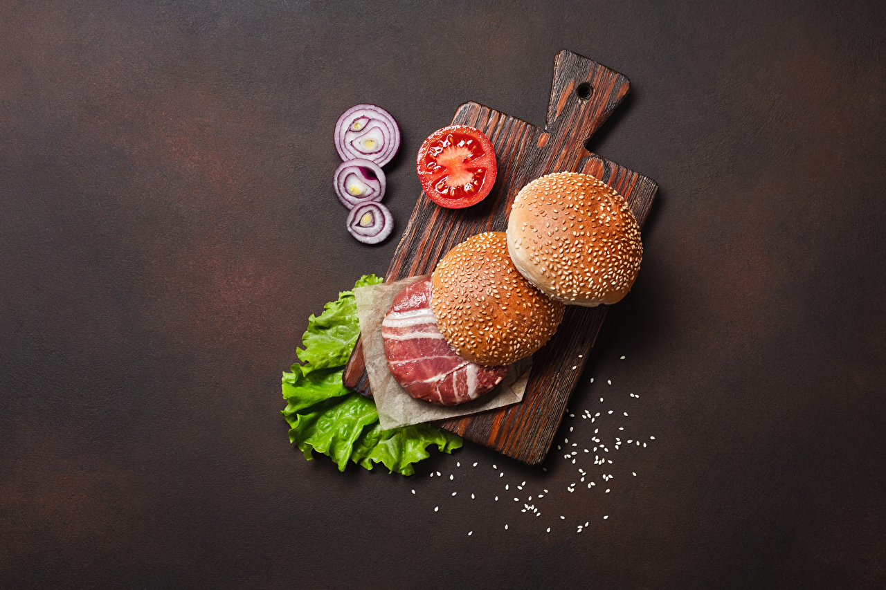 Image Hamburger Buns Food Vegetables Cutting board Meat products