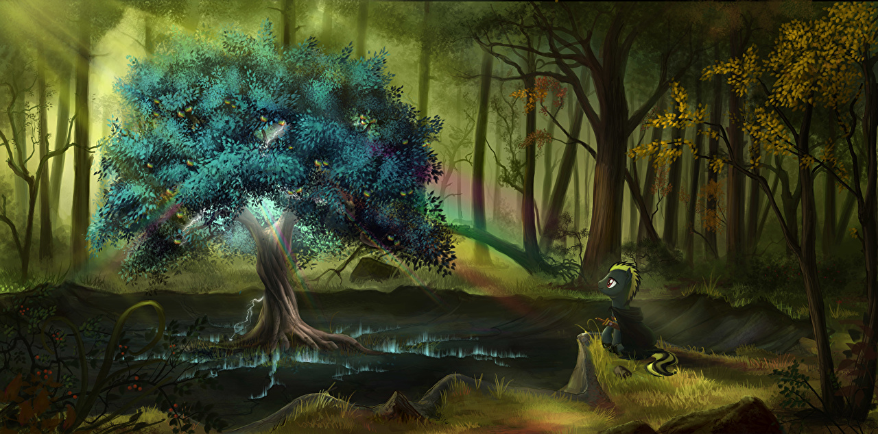 Desktop Hintergrundbilder My Little Pony Pferde Regenbogen Zeichentrickfilm Wälder Bäume Pferd Hauspferd Animationsfilm Wald