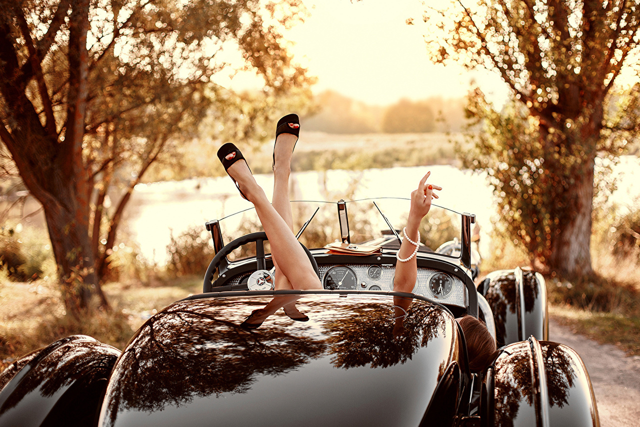 、レトロ、オープンカー、脚、若い女性、少女、自動車、