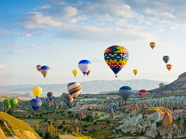 Fotos von Türkei Fesselballon Goreme national park Natur Felsen Park heißluftballon