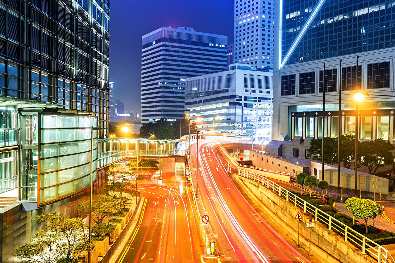Pictures Hong Kong China Roads Night Street lights Cities Building night time Houses