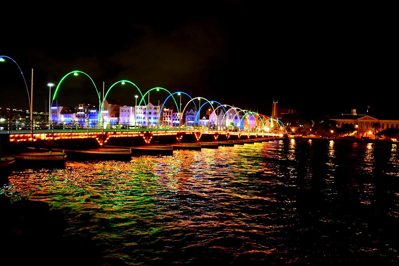 Photo Netherlands Willemstad Curacao bridge Night Rivers Street lights Houses Cities Bridges river night time Building