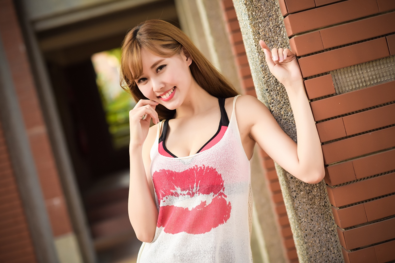 Wallpaper Brown haired Smile Girls Lips Asiatic Hands Glance female young woman Asian Staring
