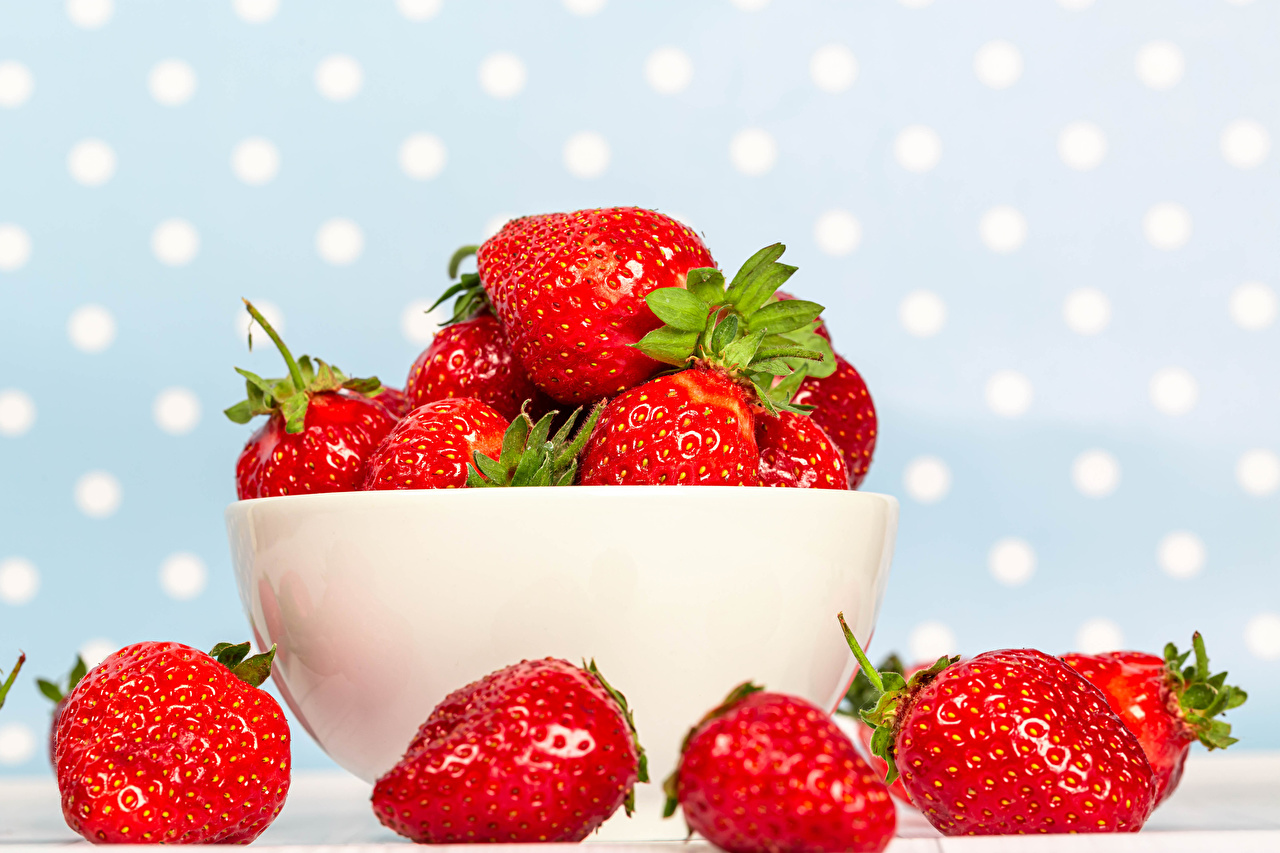 Images Bowl Strawberry Food Closeup