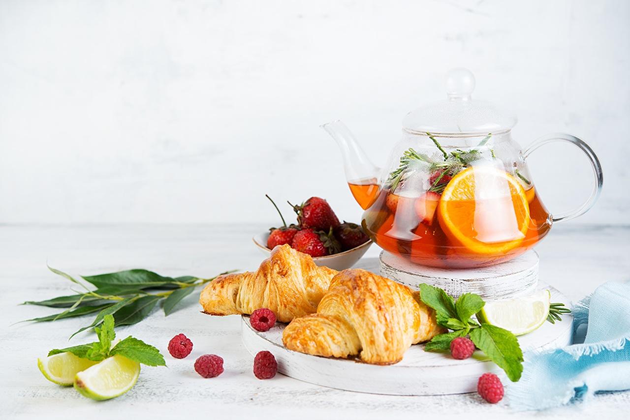 Picture Tea Lime Croissant Orange fruit Kettle Food Still-life