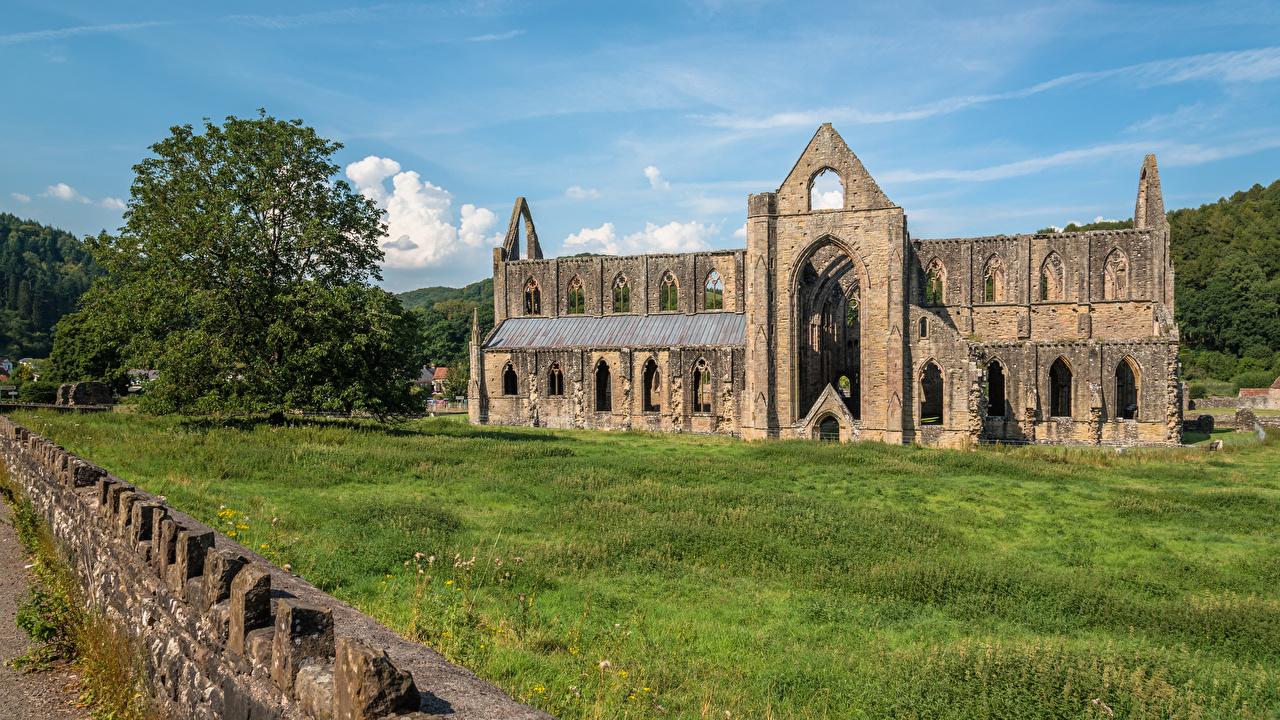 、イギリス、廃墟、Tintern Abbey、ウェールズ、村、都市、