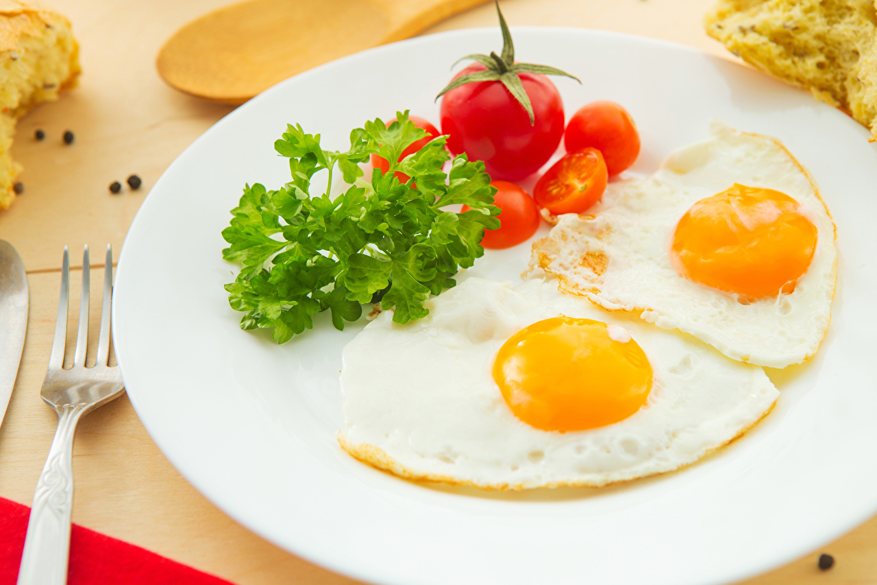 Photos Fried egg Tomatoes Breakfast Food Plate Vegetables