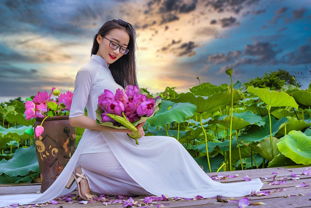 Fotos von Brünette Sträuße Mädchens Blütenblätter Lotus asiatisches Brille Sitzend Kleid Blumensträuße junge frau junge Frauen kronblätter Asiaten Lotosblume Asiatische sitzt sitzen