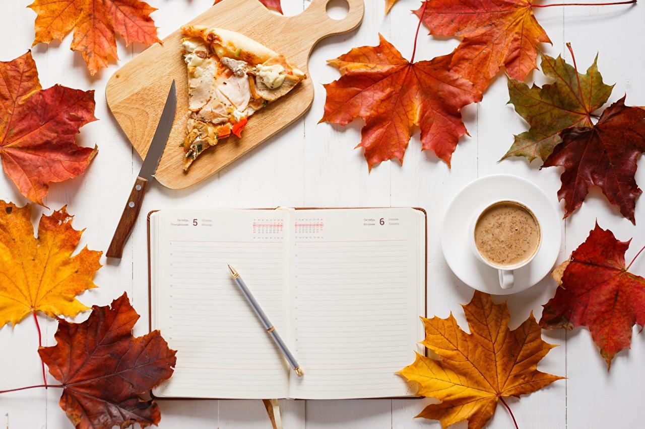 Picture Leaf Ballpoint pen Knife Pizza Autumn Coffee Calendar pieces Cup Food Cutting board Foliage Piece