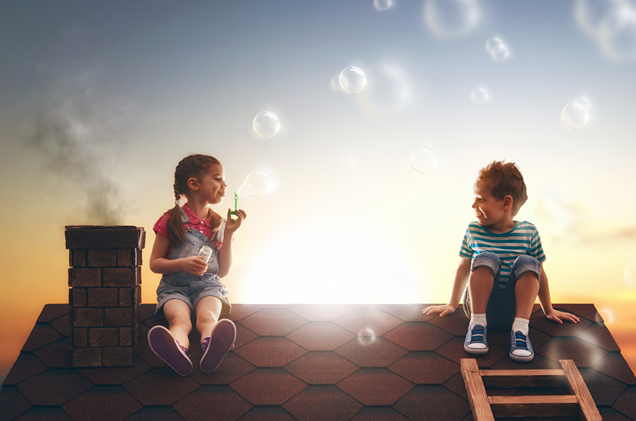 Picture Little girls Boys Soap bubbles Children 2 Roof sit Evening child Two Sitting