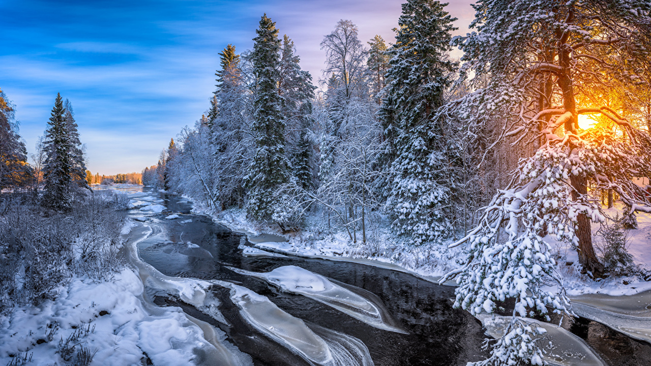 Wallpaper Finland Kuusamo Ice Winter Nature Forests sunrise and sunset Rivers Trees forest Sunrises and sunsets river