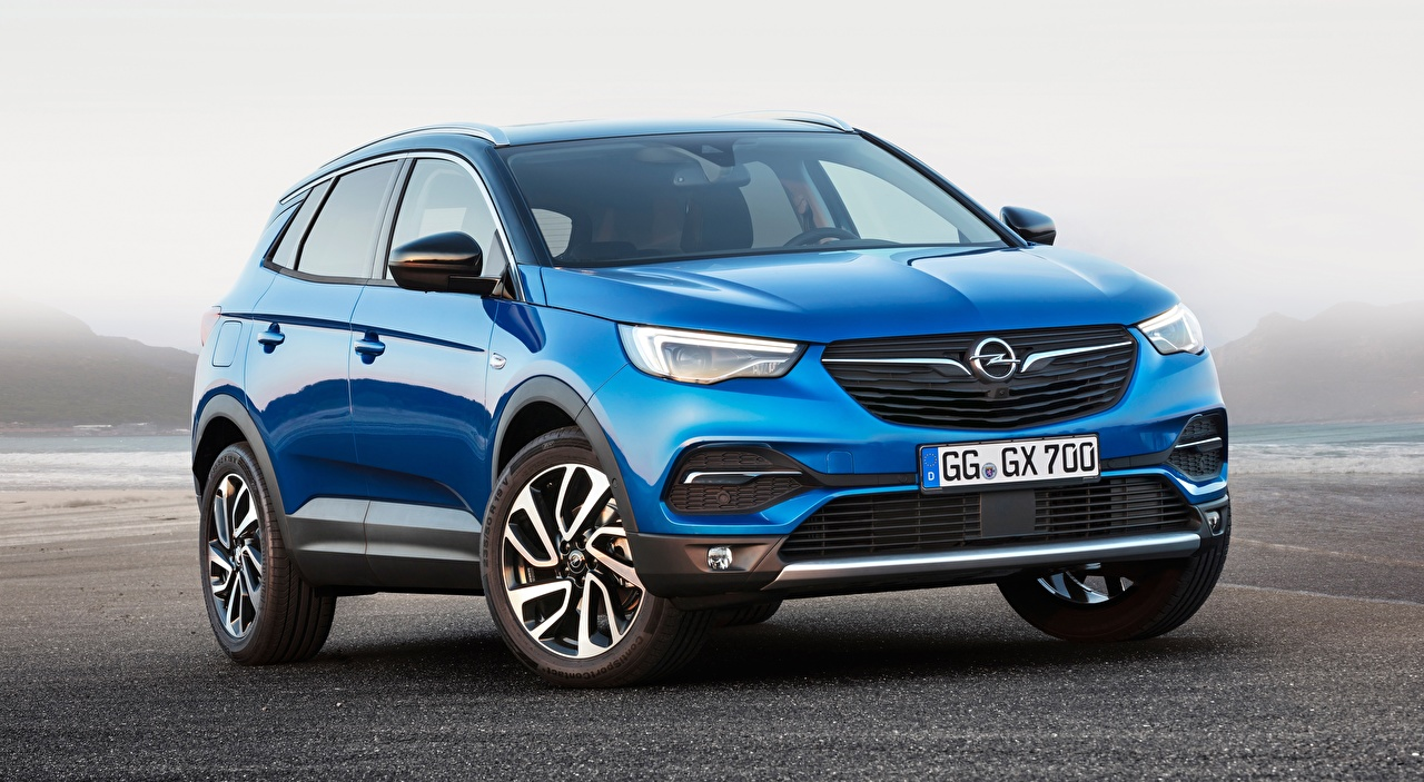 Picture Opel CUV Grandland X, Turbo, 2017 Blue Cars Front Crossover auto automobile