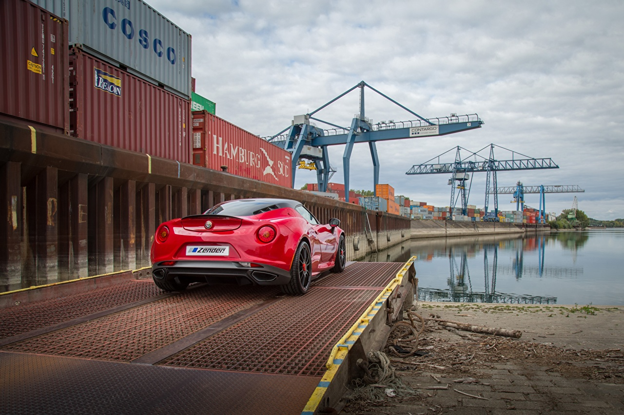 Images Alfa Romeo 4C Red Cars Back view auto automobile
