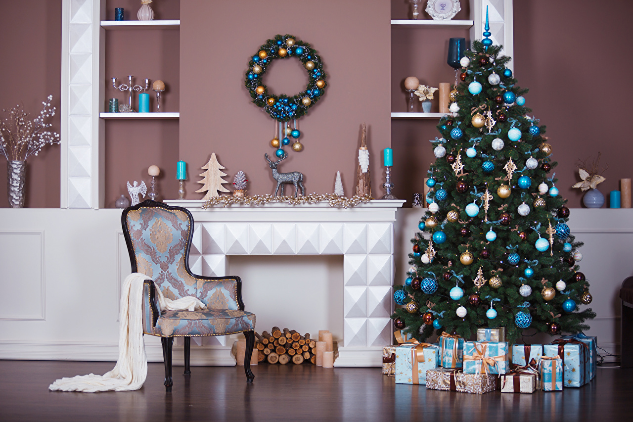 Pictures New year New Year tree present Interior Balls Chairs Christmas Christmas tree Gifts Chair