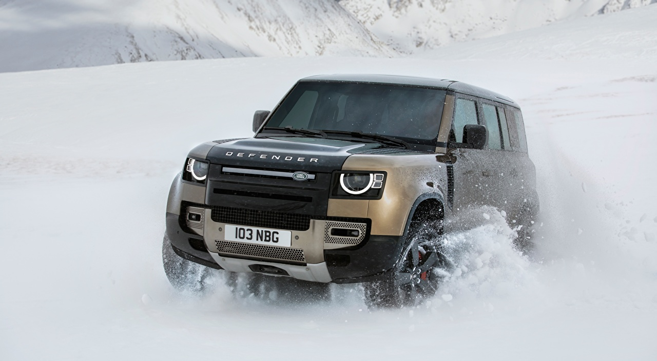 Wallpaper Land Rover SUV Defender 110, P400 X, 2020 Snow Motion Front automobile Range Rover Sport utility vehicle moving riding driving at speed Cars auto