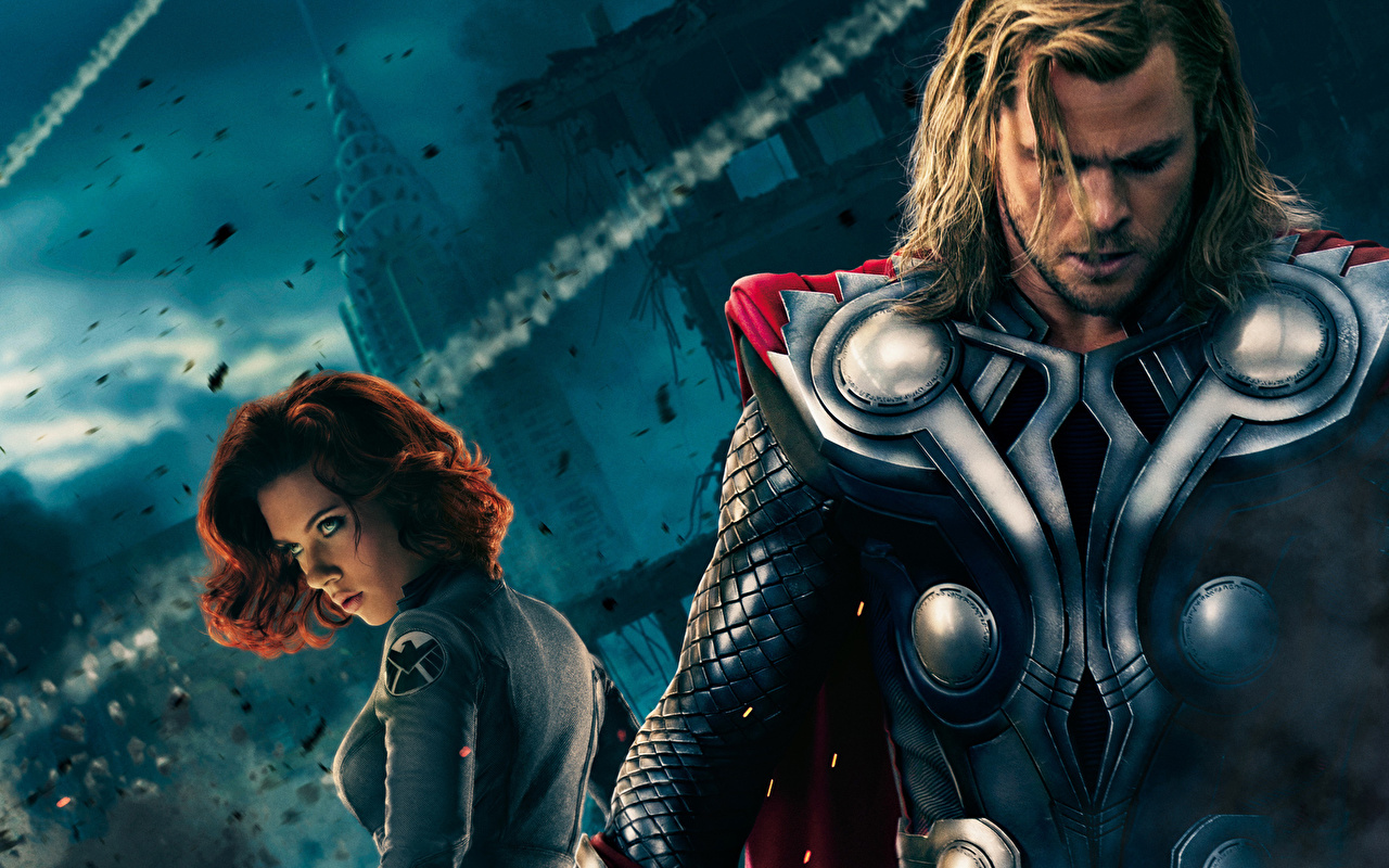 Los Vengadores 2012 Chris Hemsworth Thor Héroe Scarlett Johansson Película