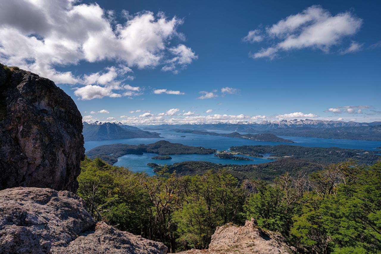 Desktop Wallpapers Argentina Patagonia, Nahuel Huapi Lake Crag Nature Mountains Sky Clouds Rock Cliff mountain