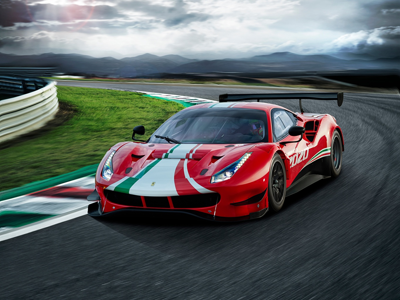 Desktop Wallpapers Ferrari 488, GT3, Evo Red Motion automobile moving riding driving at speed auto Cars