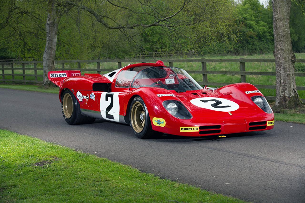 Photos Tuning Ferrari 1970 512 S Red antique Metallic automobile Retro vintage Cars auto