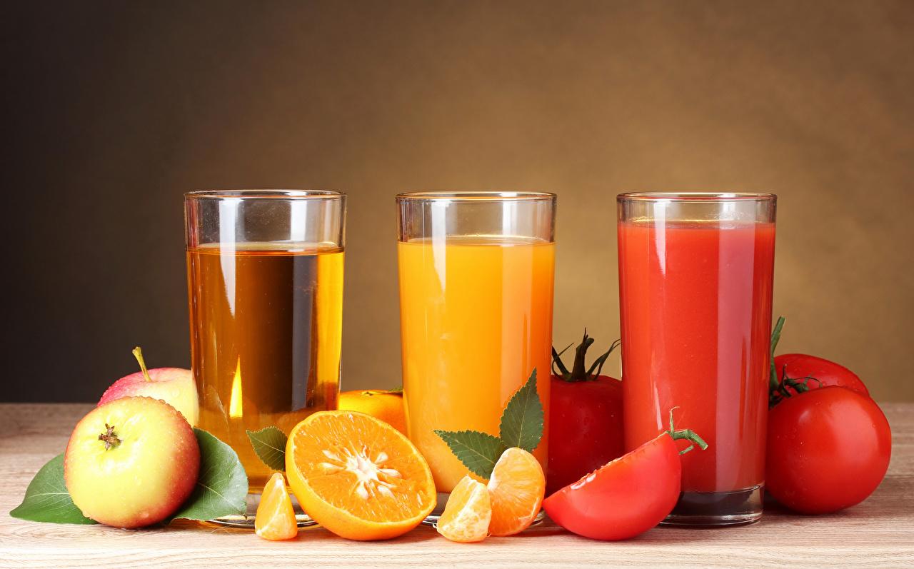 Photos Juice Tomatoes Orange fruit Apples Highball glass Food Three 3