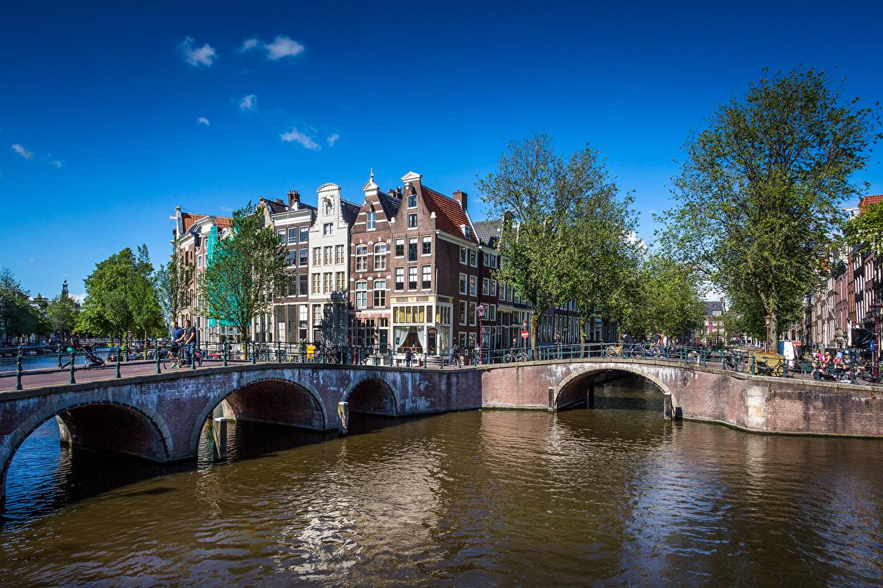 Holanda Pontes Verão Céu Amesterdão Canal ponte, Países Baixos Cidades