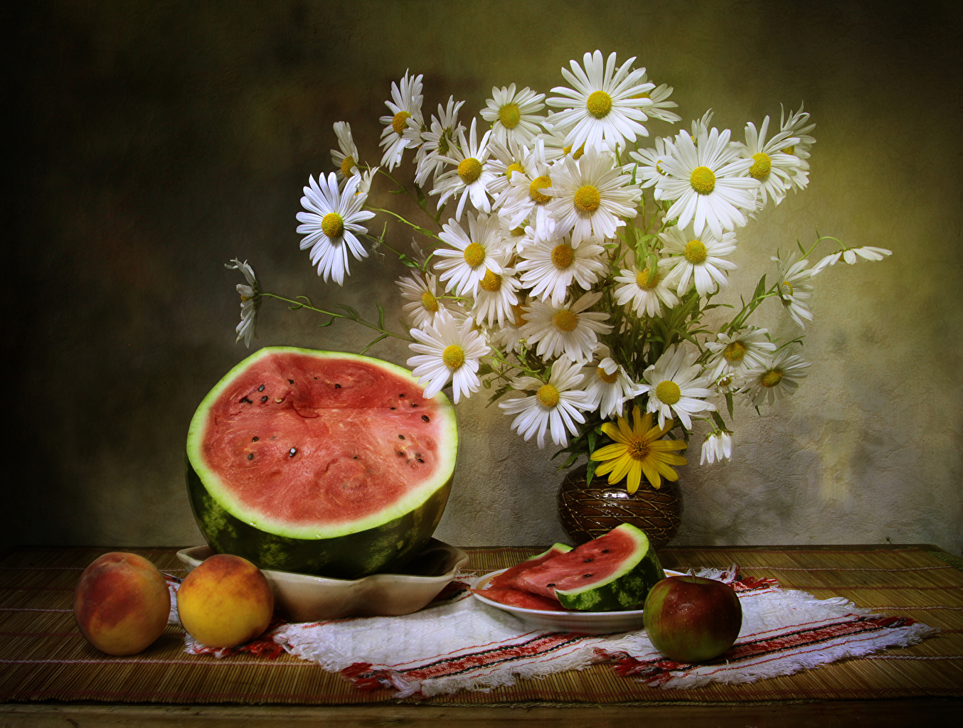 Picture Bouquets Apples Flowers Peaches Camomiles Watermelons Food Still-life