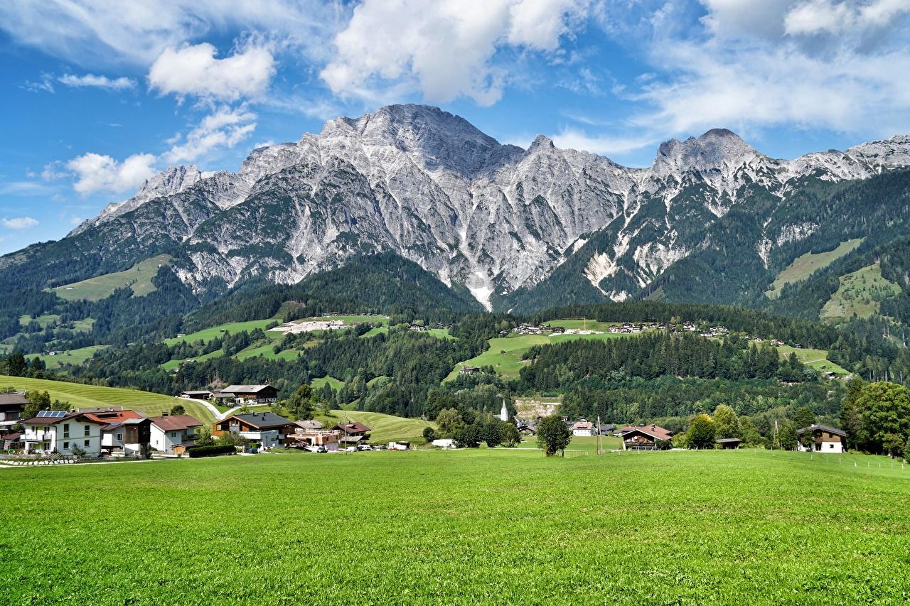 Images Salzburg Austria Village Leogang Nature Mountains Meadow Scenery mountain Grasslands landscape photography