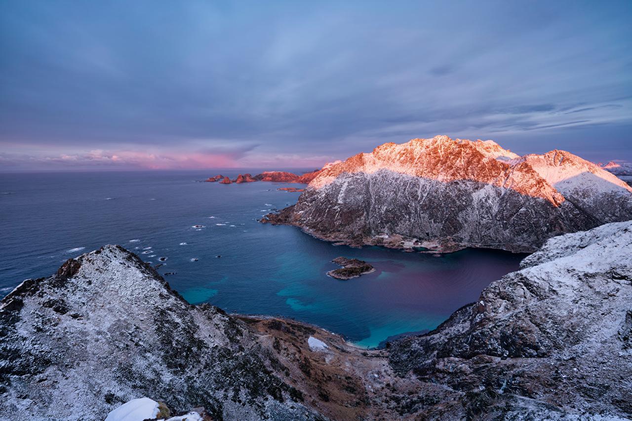 Sfondi del desktop Isole Lofoten Norvegia Natura montagna Il dirupo litorale falesia Montagne La costa