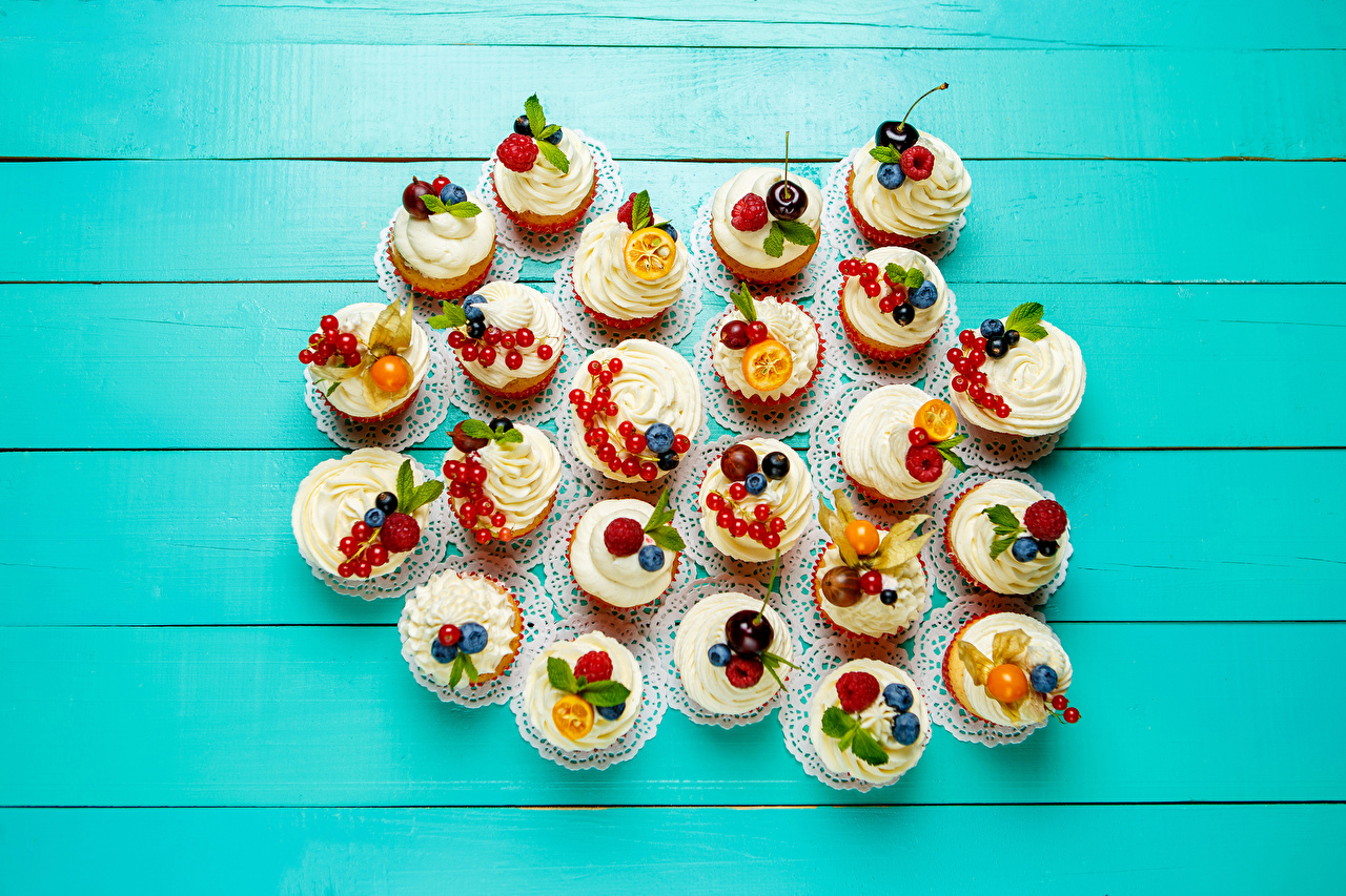 Pictures Cupcake Food Many Sweets Design Colored background fairy cake confectionery