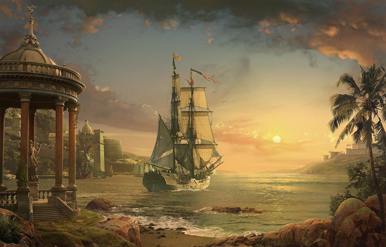 Skrivebordsbakgrunn Daniel Romanovsky Havet Solen Himmel Et skip Kyst Seilskip Liten Bukt sjøen himmelen kystlinje
