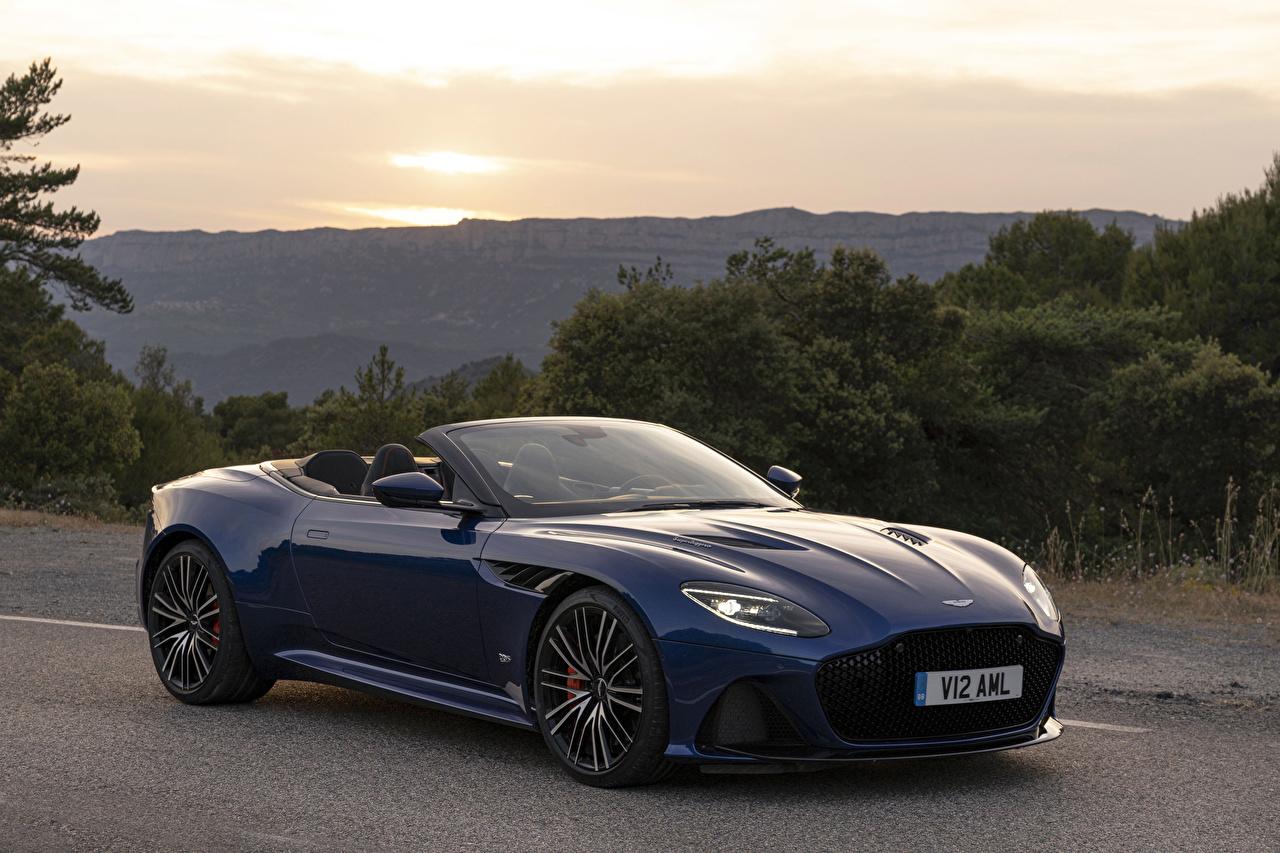 Pictures Aston Martin 2019 DBS Superleggera Volante Worldwide Convertible Blue Cars Metallic Cabriolet auto automobile