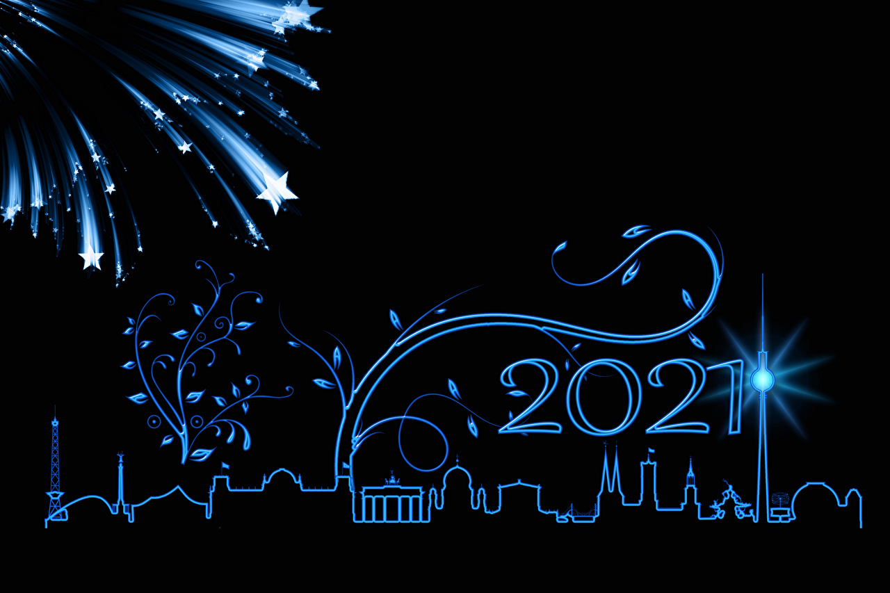Images 2021 Berlin New year Fireworks Star decoration silhouettes Black background Christmas little stars Silhouette