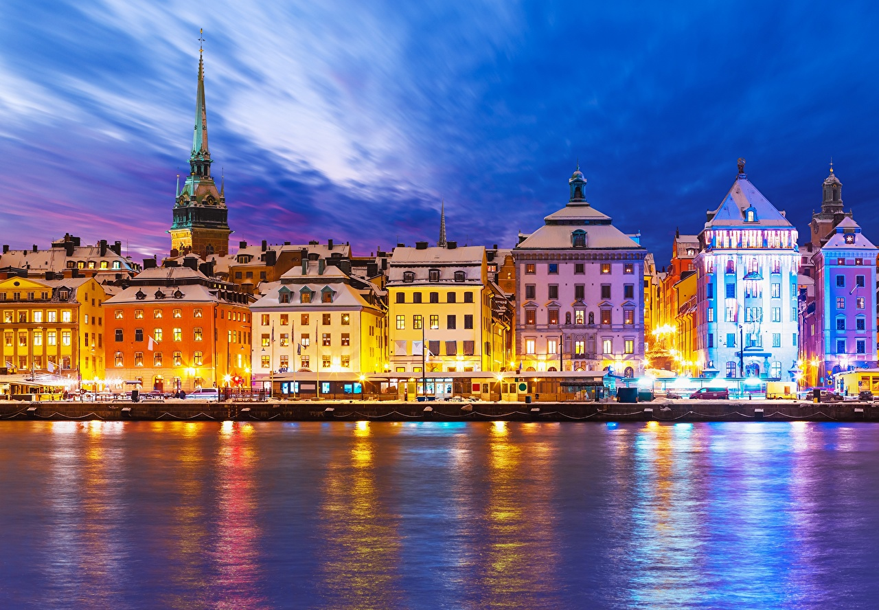 Wallpaper Stockholm Sweden Sky Coast Night Street lights Cities Building night time Houses