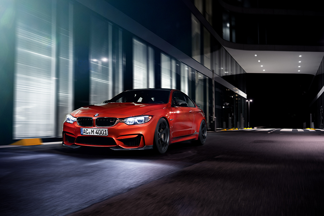 Images BMW 2014 AC Schnitzer M4 Coupe F82 Red auto Night Cars night time automobile
