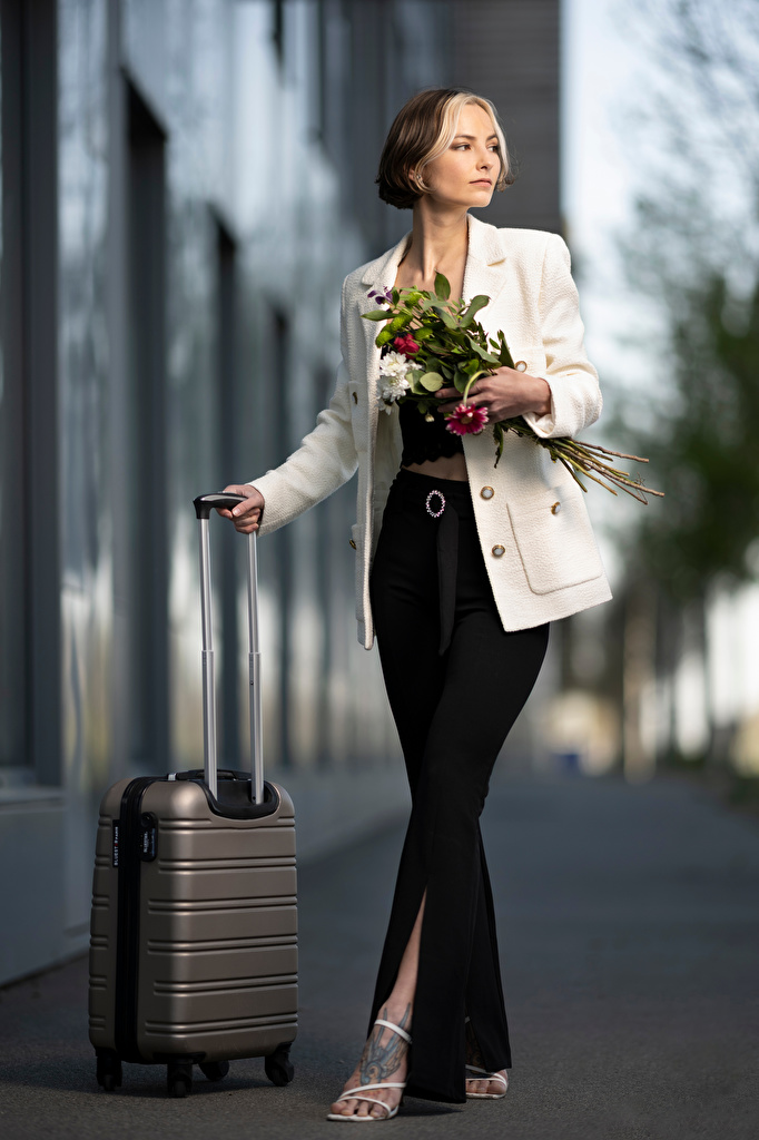 Picture Bokeh Pose Bouquets Girls Suitcase Trousers Suit jacket  for Mobile phone blurred background posing bouquet female young woman pants