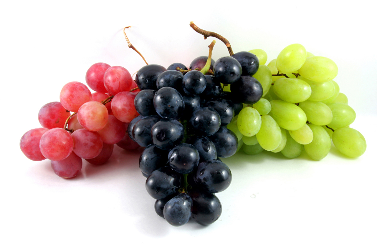 Image Multicolor Grapes Food White background