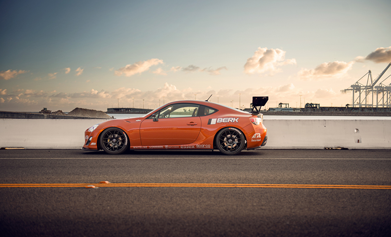 Pictures Toyota Scion fr-s Orange Sky Roads Side Cars auto automobile