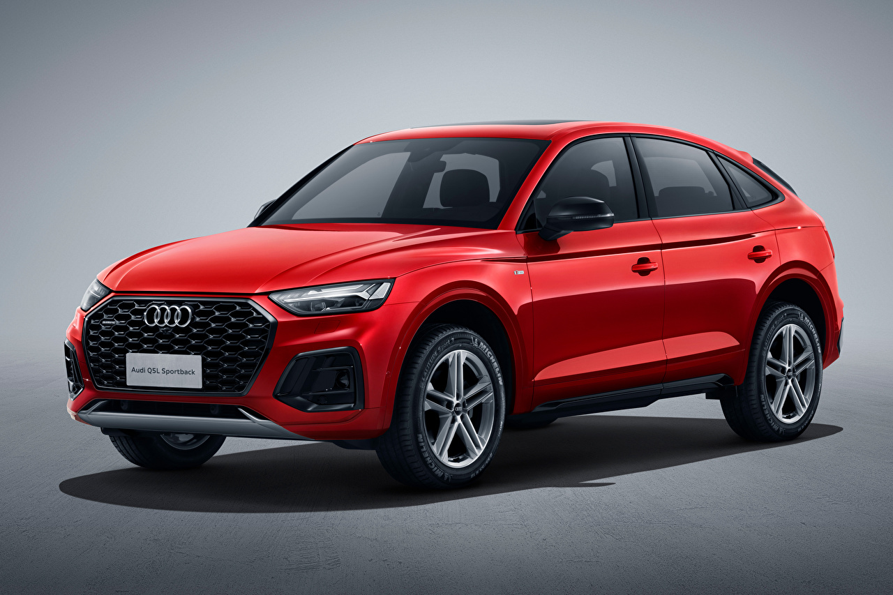 Images Audi Crossover Q5L Sportback 45 TFSI quattro S line, China, 2020 Red Metallic automobile Gray background CUV Cars auto