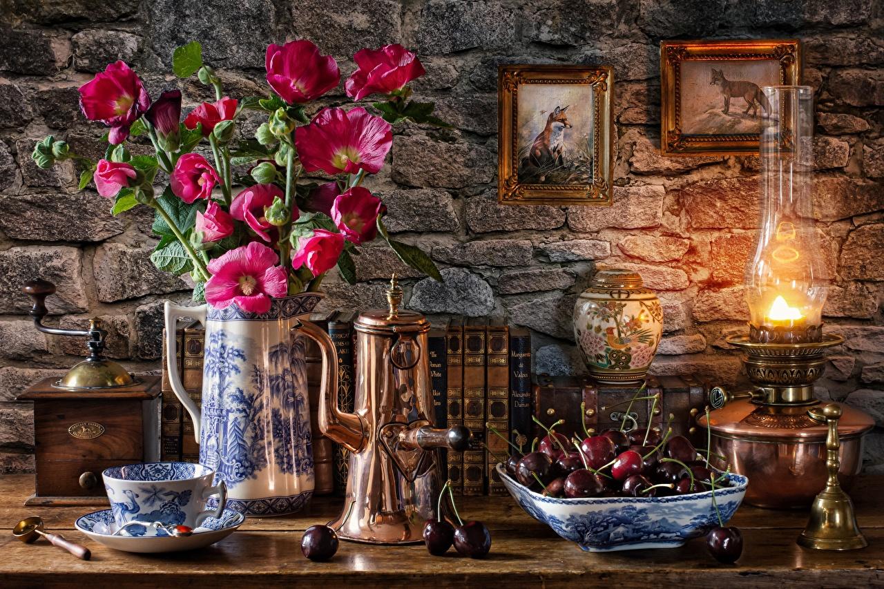 Photos Coffee mill bouquet paraffin lamp Malva Cherry flower Cup Vase Book Food Plate Still-life Bouquets Kerosene lamp Flowers books
