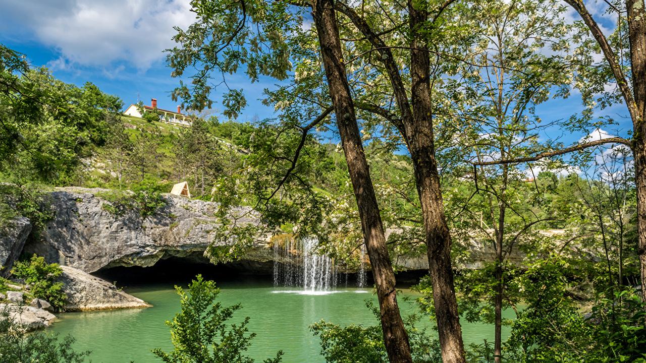 Fotos Kroatien Natur Wasserfall Baumstamm Flusse