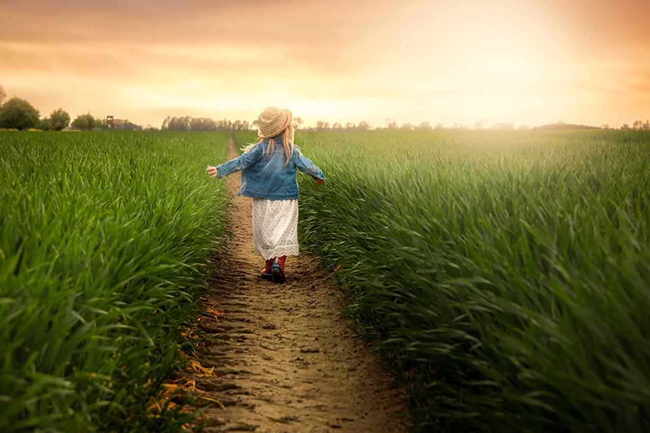 Bilder von Kleine Mädchen kind Weg Jacke Natur Der Hut Acker Gras Hinten Kinder Felder