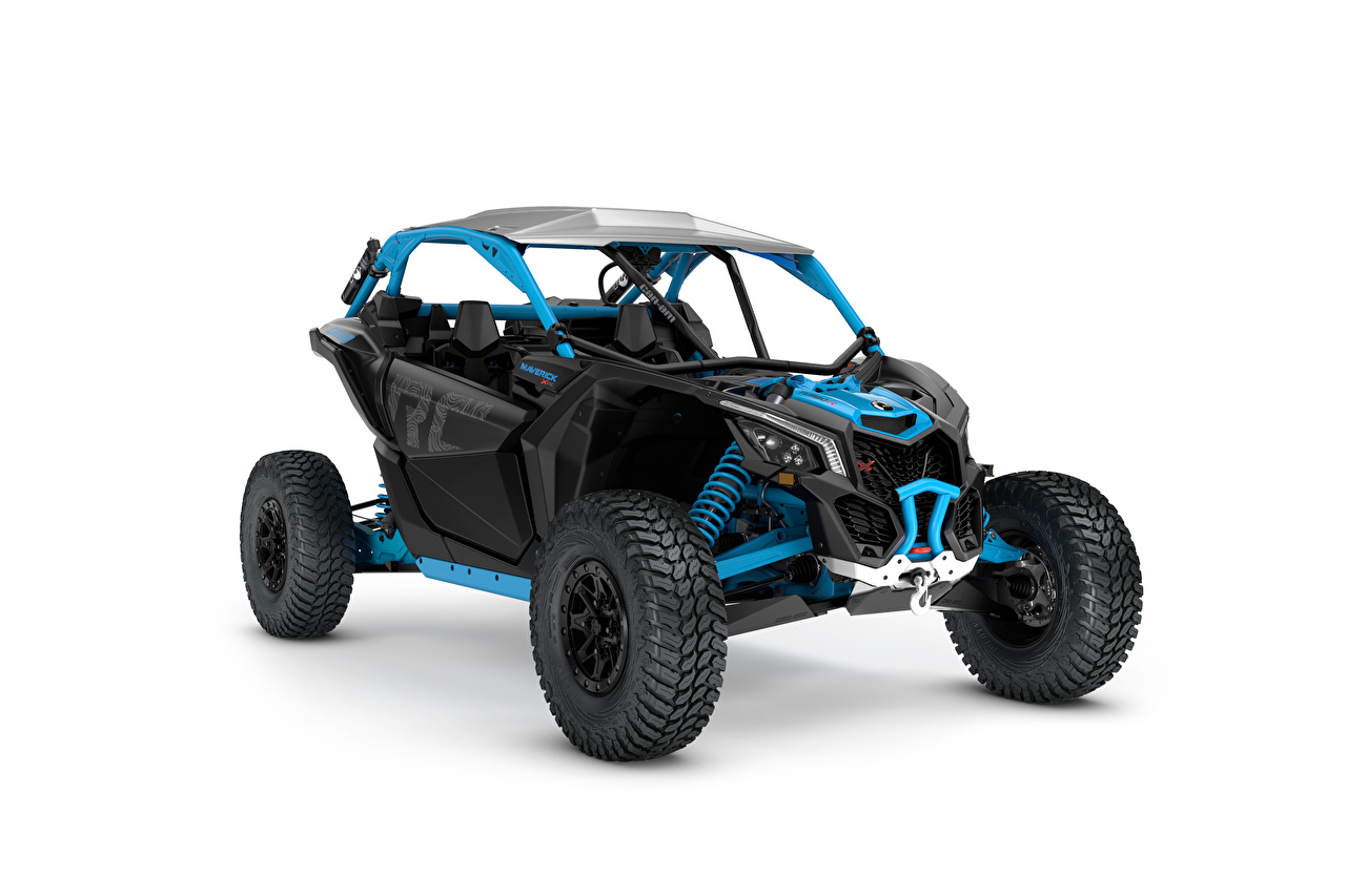 Wallpaper All-terrain vehicle Can-Am Maverick X rc Turbo R Blue White background ATV quad bike