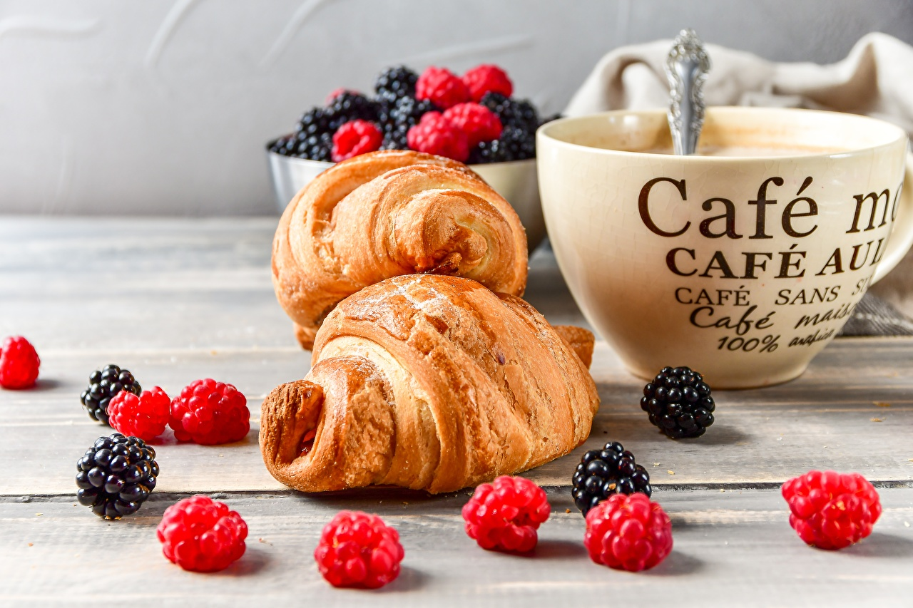 Image Coffee Croissant Raspberry Blackberry Cup Food Berry