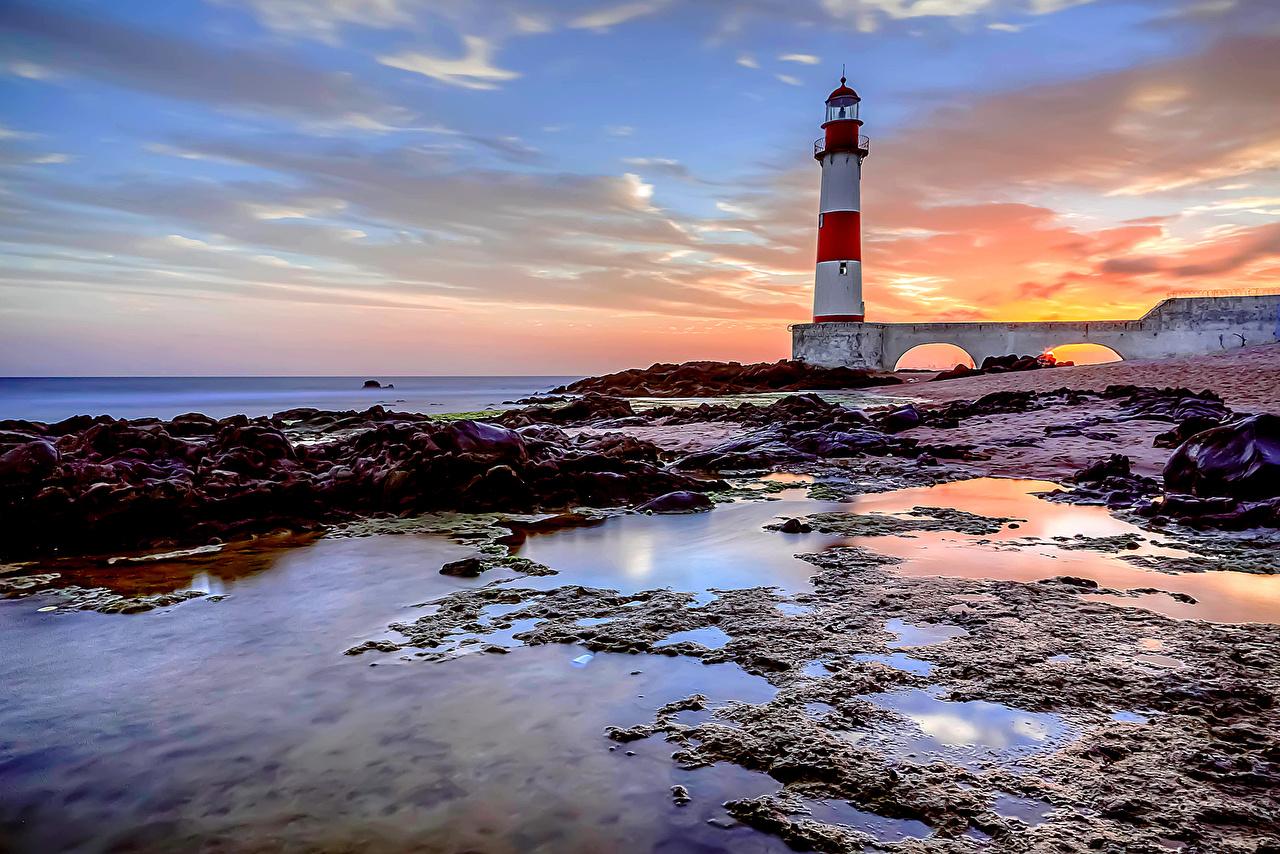 Desktop Wallpapers Brazil Bahia Salvador Nature Lighthouses Sky