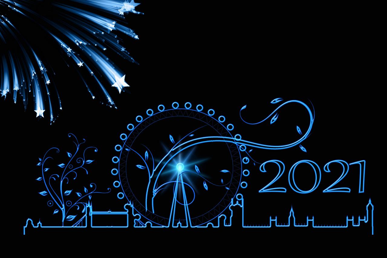 Desktop Wallpapers 2021 London New year Fireworks little stars silhouettes Ferris wheel Black background Christmas Star decoration Silhouette
